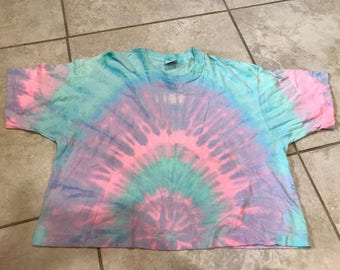 Vintage 90's Freeze Oversized Boxy Cropped Tie Dye Tee Shirt O/S