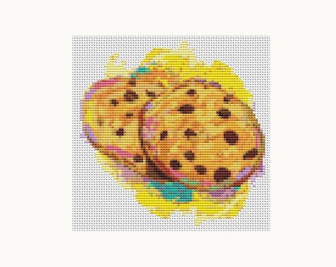 Mini Cross Stitch Pattern PDF, Embroidery Chart, Art Cross Stitch, Kitchen Series: Chocolate Chip Cookies (TAS040)