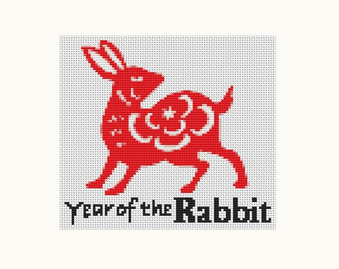 Year of the Rabbit, Chinese Zodiac Cross Stitch, Art Cross Stitch (TAS116)