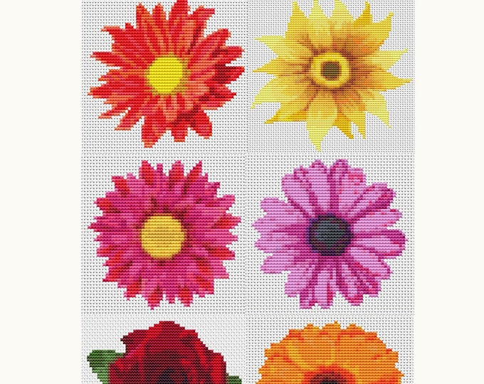 Cross Stitch Kit Set Flower Series, Floral Embroidery Kit