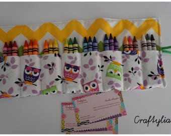 Colorful Owls, 24 crayon rolls, crayon organizer, crayon bag, back to school, back to school supply