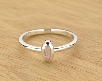 0.11ct Semi-Black Opal Ring in 925 Sterling Silver Size 6.5 SKU: 1979S018