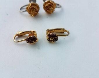 2 vintage pair of rose flower clip on earrings