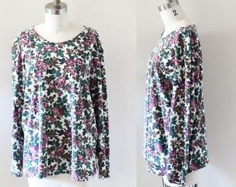 1980s floral cotton long sleeve // 1980s floral // 1980s blouse