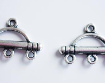 2 supports boucles d'oreilles en laiton argenté 20x13mm