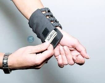 Bracelet Purse Secret Graphite . Wallet on the wrist . Exclusive wide bracelet for money . Volcanic lava . Dark gray , graphite