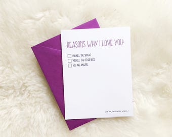 Reasons Why I Love You - card & envelope