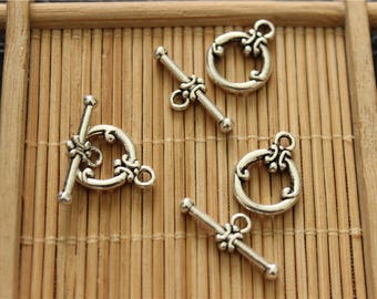 20 antique silver plated toggle clasps