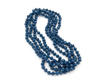 Navy Glass Crystal Bead Double Wrap Necklace