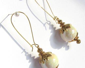 earrings, white ceramic beads - large gold hooks
