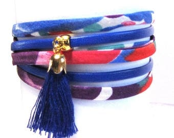 Bracelet multi-links, blue and gold tassel fabric cords and leather, multicolor