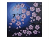 Cherry Blossom Painting, Pink Flower Painting, Japanese Blossom Art, Original Painting on Canvas, Night Sky Artwork, Small Acrylic Painting