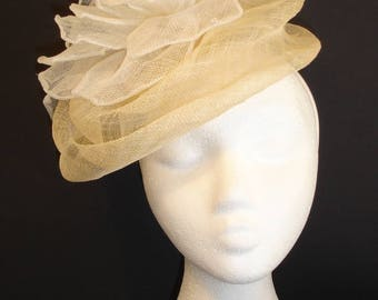Flower Fascinator, White sinamay fascinator,