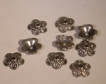 8 silver plated 10mm flower bead caps