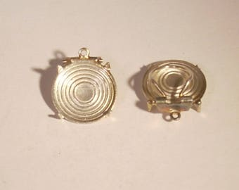 Support sieve 13 x 2 mm round silver metal clip on earrings