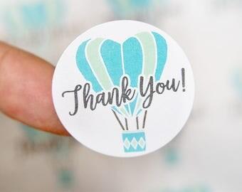 Thank You Stickers - Blue Hot Air Balloon Stickers - Thank You Labels -Packaging Stickers - Favor Stickers - Thank You Labels - 48 Pieces