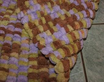 cozy baby blanket lined Brown tassels, lime and purple - handmade - + 37cmx + - 50cm