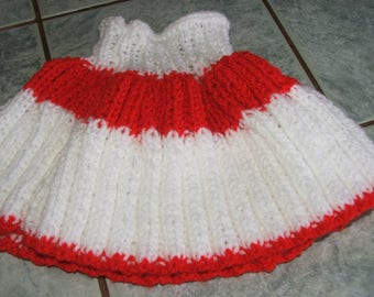 Skirt for girl 6/12months - handmade knitting - red and white