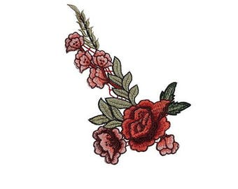 Red Embroidered Roses Flowers Patches Appliques for Sewing and Embellishment