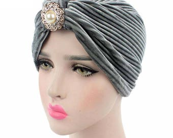 Gray Velvet Indian Turban Hat, Hijab, Headwrap with Pearl Brooch