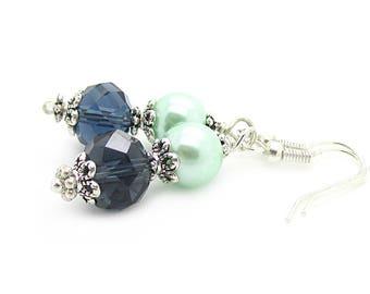 Navy and Mint Bridesmaid Earrings, Mint Bridesmaid Jewellery, Navy Wedding, Bridesmaid Gifts, Pearl Dangle Earrings, Crystal Drops