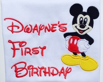 DISNEY Mr.MOUSE BIRTHDAY-Personalized Embroidered Birthday T-shirt