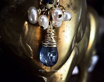 SageAine : Blue Kyanite, Sapphire and Pearls Gold Pendant ,  Auric Shield, Reiki Charged, Crystal Healing, Gift for her