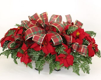 Beautiful XL Christmas Red Poinsettia with Plaid Bow Cemetery Tombstone Saddle Arrangement