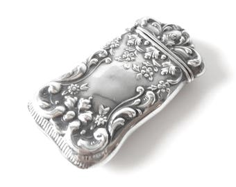 Victorian Repousse Sterling Silver Match Safe