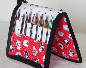 28 pair capacity Interchangeable knitting needle and crochet hook keeper case sized to hold up to US 11, Sheep