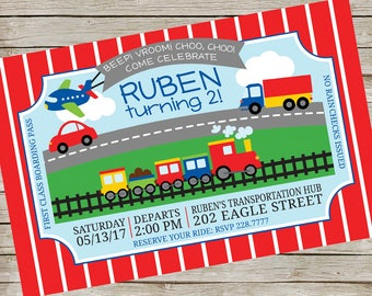 Cars Trucks Planes Trains Party Invitation PIY file ~ Transportation Birthday Party Printable ~ Transportation party Printable