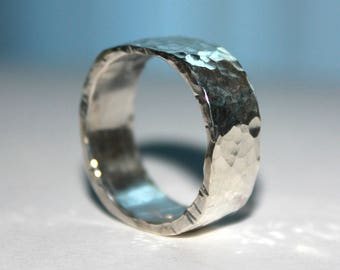 Custom Squared and Hammered Silver Ring