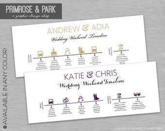 Wedding Timeline Cards • Wedding Day Itinerary • Wedding Schedule of Events • Wedding Hotel Bag