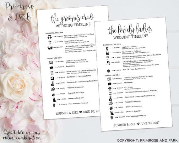 Wedding Timeline For Bridal Party Printable // Bridesmaids + Groomsmen Cards // Bundle Package