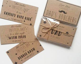 Dad's Vouchers Gift Promise Coupons Retro Fun Gift Vouchers Dad's Birthday or Father's Day