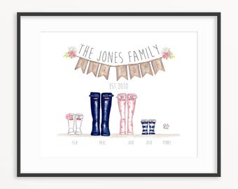 Family Wellington Boot Personalised Print