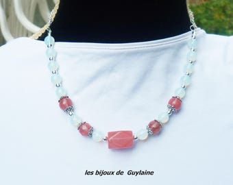 cherry quartz and Opal stone necklace