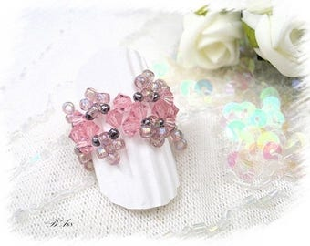 Pink glass and Crystal woven BA88 ring