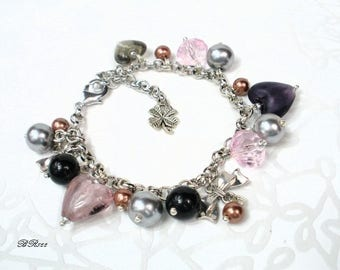 romantic beaded bracelet and hearts * BR822
