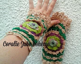 Mitaines dentelle crochet-mitaines féerique-mitaines faite-main-mitaines femme laine et coton multicolore unique