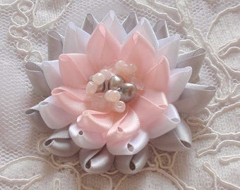 Handmade Ribbon Flower With Freshwater Pearl And Beads (2-3/4 inches) MY-679-02 Ready To ship