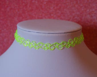 Neon Fluorescent Green Tattoo Choker | Necklace Retro 90s / For Her
