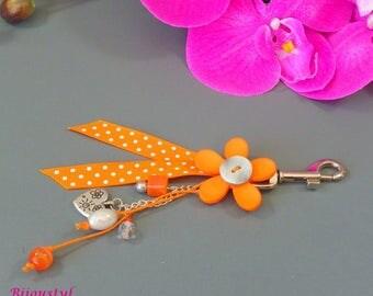 "Bag charm ""Poplin"" orange flower - orange Ribbon with white dots"