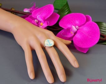 Ring - Cabochon 18 mm - yellow-blue anchor