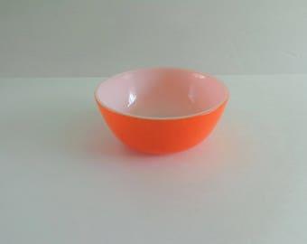 Pyrex Glass Orange Serving Bowl 1960's Vintage Glass Mixing Bowl