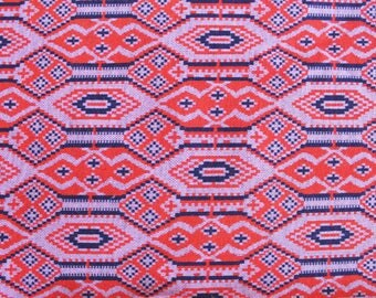 Vintage 1970s Knit Fabric: Blue, Red, and Lavender Geometric/Native American Motif Fabric 3.39 Yards