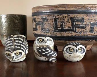 Vintage Mid Century Modern Edvard Lindahl Gustavsberg Sweden Pottery Owl Set