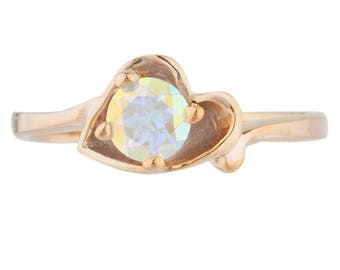14Kt Rose Gold Plated Natural Mercury Mist Mystic Topaz Round Heart Shape Ring