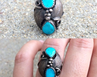 vintage Native American sterling silver turquoise southwestern ring size 6.5