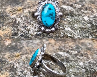 vintage Native American Bell Trading Post sterling silver turquoise southwestern ring size 6.25